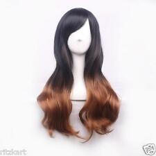 68cm Fashion Long Wavy Tilted Frisette Women Hair Wig Black Brown Ombre 39958