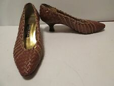 Bruno Magli Couture WOVEN LEATHER Kitten Heel Pumps 5.5B Tan Italy Stacked Heel