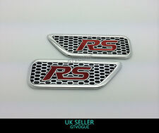2 x FORD FOCUS RS 3D SIDE WING FENDER STICKER ALUMINIUM BADGE