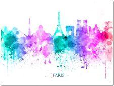 Paris City Skyline France watercolor Abstract Canvas Art Print 90cm X 60cm