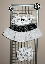 """Handmade Doll Clothes for 12"""" - 14"""" Baby Dolls - """"Friends"""" Black White Dress Set"""