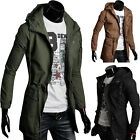 Men's Winter Long Hoodie Jacket Casual Hooded Military Trench New Slim Fit Coats