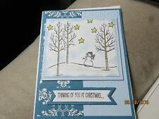 Handmade Christmas Card - Snowman at Night - Using Stampin' Up products