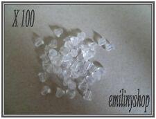 lot 100 embouts fermoirs boucles d'oreilles transparent apprêt bijoux NEUF