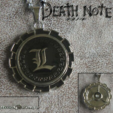 New Anime Death Note Series L Lawliet Emblem Jewelry Necklace Pendant Spin 360°