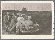 Vintage Car Photo Men w/ Pobeda USSR Automobile 722442