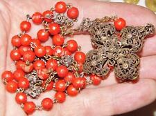 Antique German Baroque Silver Filigree & Red Coral like ROSARY BEADS 18thC. 19in
