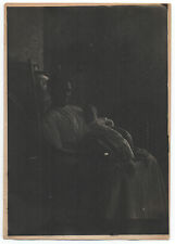 Large 1920s Haunting Art Photo of African American Woman in Chair & Baby