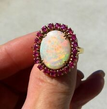 Stunning Vintage 18k Gold 5ctw Crystal Opal Ruby Cocktail Ring Lots of Red! 8.7g
