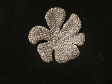 Beautiful Swarovski Large Pave Flower Pin Brooch signed