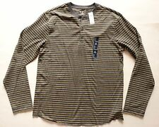 new GAP long sleeve gray yellow striped henley mens size Large L