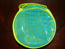 Vtg Clinique Make Up Bag Python Print Lime Green Turquoise Blue Cosmetic Case