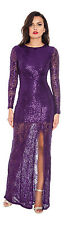 CITY GODDESS PURPLE LACE SEQUIN SIDE SPLIT PARTY FORMAL MAXI DRESS SIZE UK 10