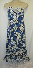 VTG Hoku XL Hawaiian Dress Long Maxi Ruffle High Low Cotton Luau Beach Party