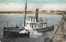 "Redondo California~Tug Boat ""Redondo"" by Dock~Men on Deck~1909 Postcard"