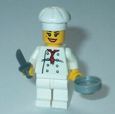 TOWN/CITY Lego Female Chef W/knife & pan NEW Genuine Lego Town/City