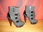 Super CARVELA Black charcoal leather ankle platform killer boots EU 38 *50*
