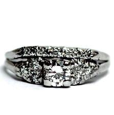 14k white gold .56ct VS H round diamond engagement ring wedding band 3.3g sz 7