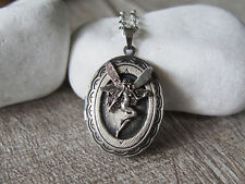 Fairy Pendant with Wings Locket Oxidized Silver Locket Handmade Jewelry