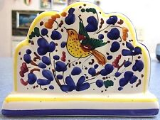 Deruta pottery-napkin Holder With Arabesco Pattern.Made/painted by hand-Italy