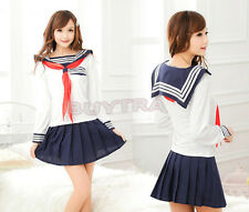 Japanese School Girl Dress Outfit Sailor Uniform Cosplay Costume Fancy Dress CCC
