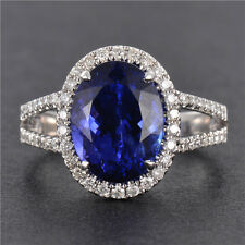 AAAA Natural Tanzanite & Diamond Bridal Promise Ring Oval 8*10mm 18K White Gold