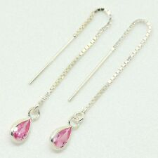925 Sterling Silver - Pull Through Earrings with Pink Tear Shaped CZ Stone