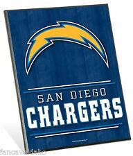 """NFL San Diego Chargers Logo Premium 8"""" x 10"""" Solid Wood Easel Sign"""