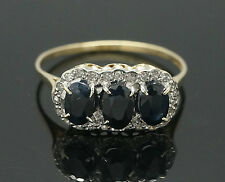 9ct Yellow Gold Three Stone Sapphire & Diamond Halo Cluster Ring (Size X) 16x8mm