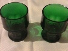 "Viking Tumblers Indiana Glass Forest Green Glasses (2) 4 1/4"" Tall"