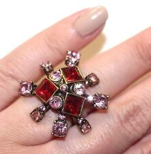 OSCAR DE LA RENTA UNSIGNED RED PINK PRINCESS CUT CRYSTAL COUTURE RING SIZE 6