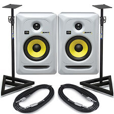 KRK Rokit RP5 G3 White (Pair) Active Studio Monitors + Speaker Stands & Cables