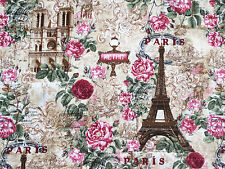 PARIS EIFFEL TOWER FRANCE TIMELESS TREASURES 100% COTTON FABRIC NATURAL  YARDAGE