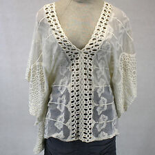 NEW NWT XCVI Plus Size Lagenlook Sheer Mesh & Lace Ivory V-Neck Poncho Blouse 1X