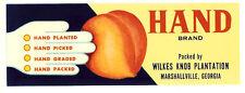Vintage WILKES KNOB HAND Peach Fruit Crate Label MARSHALLVILLE GEORGIA