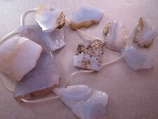 Blue Lace Agate Top Drilled Sliced Beads 10pcs