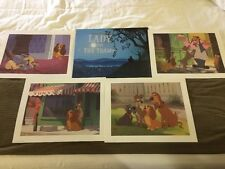 Set Of 6 Disney Lithographs Mickey, Pooh, Beauty And The Beast, Lady And Tramp