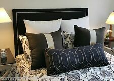 CHESHIRE Upholstered Queen Bedhead Studded - Australian Made  Mystere Onyx