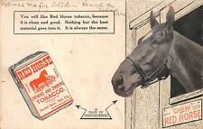 RED HORSE CHEWING & SMOKING TOBACCO ADVERTISING POSTCARD 1915