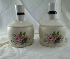 Pair Vintage Axe Vale Pottery Bedside Lamp bases with Floral Posy Design Working