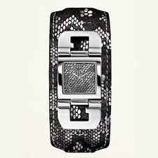 NEW-GUESS BLACK SILVER PYTHON LEATHER EMBOSSED CUFF STRAP BAND WATCH-U0054L1
