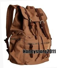 Vintage Canvas Leather Travel Backpack Sport Rucksack Satchel School Hiking Bag
