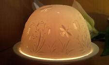 Porzellan Windlicht Lithophanie Glockenblume Blüte Blume Wiese Glühwürmchen