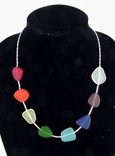 BUTW  Tumbled Sea glass  beach 7 chakra + clear stone healing necklace 9115K