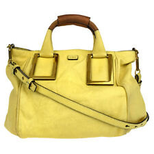 Authentic CHLOE Logos 2Way Ethel Shoulder Hand Bag Leather Yellow Italy 68M926
