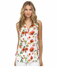 EQUIPMENT Painted Wildflower Floral Print Sleeveless Keira Silk Blouse - S