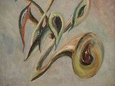 ca 1955 HORNS & NOTES by E K L SKOVE - Vintage ABSTRACT Oil Painting Surrealist