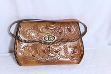 "Tooled Leather Handbag Purse Floral Gold Toned  ""Tortise-Shell"" Trim"