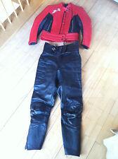 Dainese Motorradanzug Vintage Leder Biker Kombi Jacke Hose schwarz rot Gr. 36/38