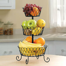 New ~ 3 Tier Black Wire Metal Fruit Basket Holder Rack Bowl Vegetable